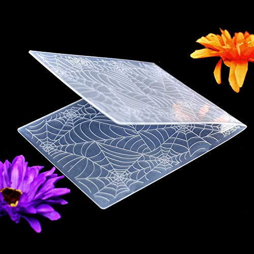 Kwan Crafts Spider Web Halloween Deco Plastic Embossing Folders for Card Making Scrapbooking and Other Paper Crafts 12.1x15.2cm