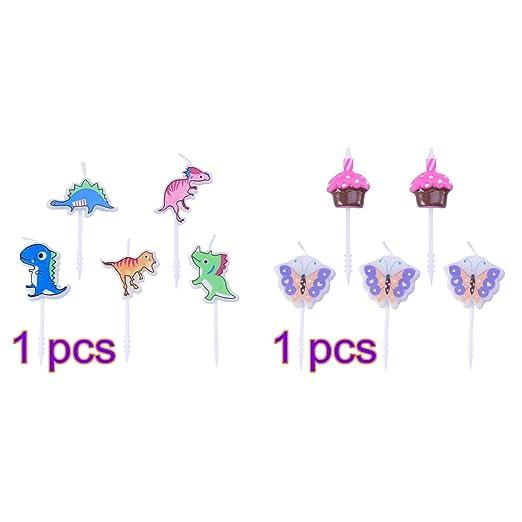 Amosfun 10 Piezas de Pastel de cumpleaños con Velas Dinosaur ...