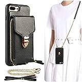 iPhone 8 Plus Wallet Case, JLFCH iPhone 7 Plus Zipper Wallet Case with Card Slot Holder Leather Handbag Buckle Detachable Wrist Strap Long Crossbody Strap Purse for iPhone 7/8 Plus 5.5 - Black
