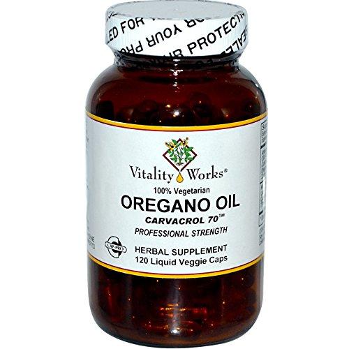Oregano Oil 120 Cap (Vitality Works, Oregano Oil, Carvacrol 70, 120 Liquid Veggie Caps - 3PC)