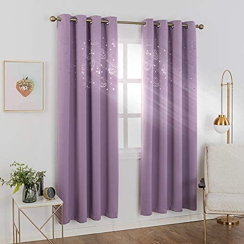 MANGATA CASA Kids Blackout Curtains Grommets 2 Panels with Cutout Star Butterfly for Nursery Bedroom,Thermal Window Curtains Panel for Living Room Darkening Drapes LILAC-52X84inch