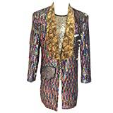 HBDesign Mens 1 Piece Printed Flannel Lapel Long Pattern Colors Jacket