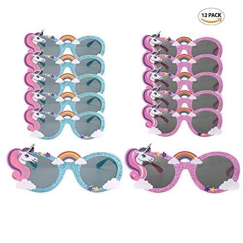 Party Avenue Unicorn Party Sunglasses | (12-Pack) 6-Blue and 6-Pink | Unicorn Shaped Sunglasses | Unicorn Kids Party Supplies | Perfect Unicorn Birthday Party -