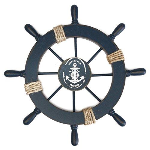 af-tigonhw Nautical Beach Wooden Boat Ship Steering Wheel Decor, Fishing Net Shell Home Wall Decor (Deep Blue)
