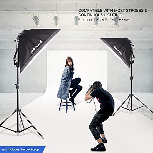 MOUNTDOG 2400W Softbox Photography Lighting Kit 20'x 28' Softbox3 4 Socket Professional Continuous Light Set 12X45W E27 5500K Bulbs for Portrait Photo Video Shooting by MOUNTDOG (Image #4)