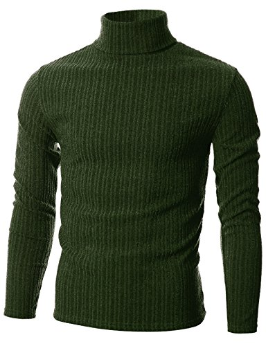 GIVON Mens Slim Fit Wide Ribbed Cotton Blend Turtleneck Pullover/DCP036-KHAKI-M by GIVON