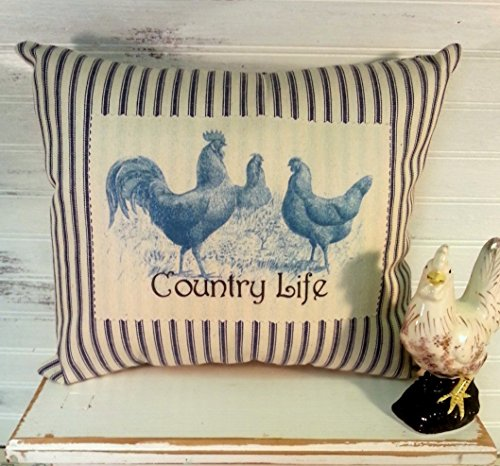 Country Life Rooster Blue and White Ticking Pillow