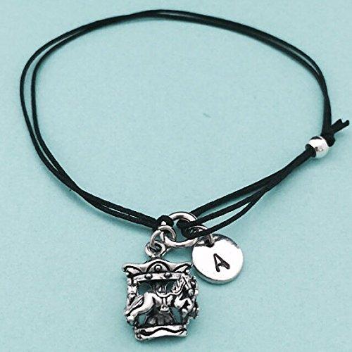 Carousel Bracelet (Carousel cord bracelet, carousel charm bracelet, adjustable bracelet, charm bracelet, personalized bracelet, initial, monogram)