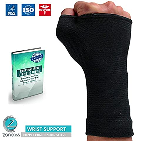 Copper Fit Compression Wrist Support Sleeve / Brace - Best Recovery Arm Sleeve For Sprains, Pains, Carpal Tunnel, Tendinitis, Arthritis & More (XL)
