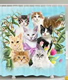 Cute Curtains Cat Shower Curtain Cute Kittens Tropical Animals Garden and Flowers Green Tropical Leaves Colorful Friends Tulips in Bathroom Textile Turquoise Beige Green Gray Black White Decor for Teen