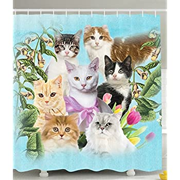 Amazon.com: Ambesonne Cat Shower Curtain Cute Kittens Tropical ...