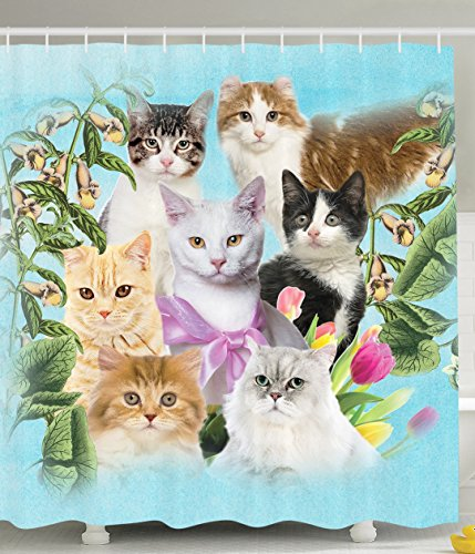 Cat Shower Curtain Cute Kittens Tropical Animals Garden and Flowers Green Tropical Leaves
