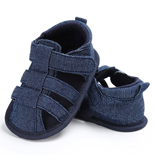CoKate Infant Boy Girl Soft Sole Crib Toddler Newborn Sandals Shoes for 0-18 Month (0-6M/ 4.3inch, Denim Color)