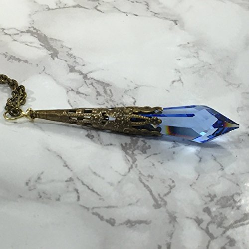 Tiaza's Treasures Antiqued Brass Blue Icicle Crystal from Swarovski Pendant Necklace