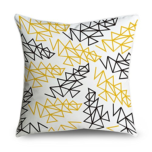 FabricMCC Simple Modern Yellow and Black Geo Square Accent Decorative Throw Pillow Case Cushion Cover 18x18