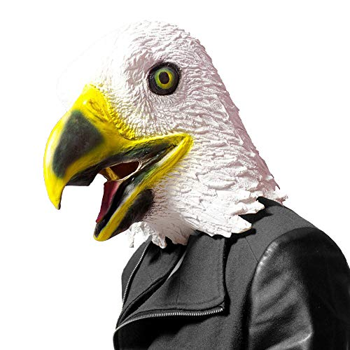 CreepyParty Novelty Halloween Costume Party Latex Birds Head Mask (Eagle) White ()