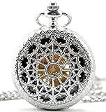 Infinite U Heart Shape Silver Spider Web Hollow Skeleton Steel Mechanical Movement Pocket Watch
