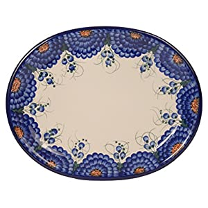 Traditional Polish Pottery, Handcrafted Oval Banquet Serving Platter 34cm, Boleslawiec Style Pattern, S.201.Arts