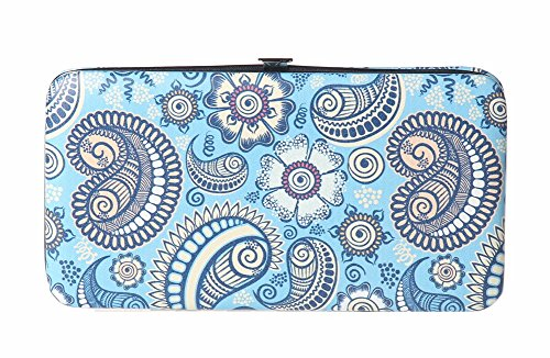 Chicastic Blue Paisley Print Flat Hard Clutch Wallet - Flat Opera Wallet