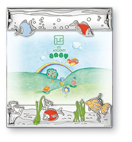 STERLING SILVER PICTURE FRAME - FISH (3.5'' x 5'') . Made in Italy (Blue Back)