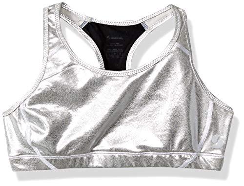 Metallic Racer Back Bra - MJ Soffe Big Girls Sports Bra, Silver/Metallic , Medium
