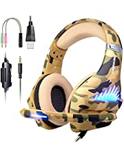 Comfortable Gaming Headset with Rotatable, Noise Reduction Mic for PS4 , Nintendo Switch,Xbox One, PC, Laptop, Mac ,Smart Phone(Over-Ear And LED Lighting)