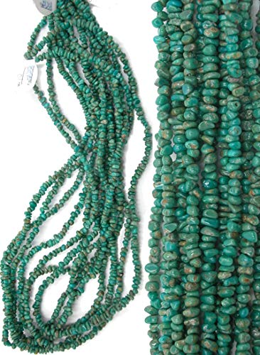 Forest Green Turquoise Magnesite 3-4mm Tiny Nugget Chip Beads, 18 inch Strands. ()