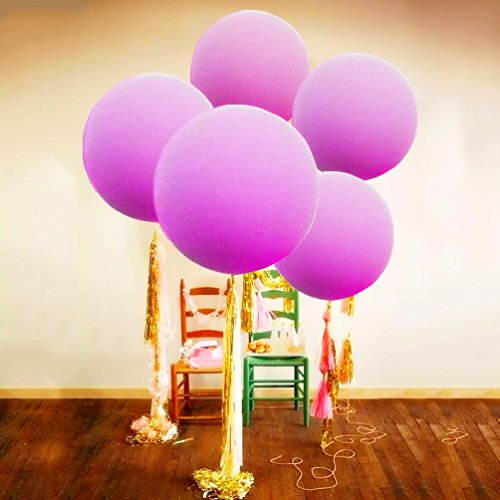 AZOWA 6 pack 36'' Party Balloons Purple Assorted Latex Balloons Party/Wedding/Engaged Decorations
