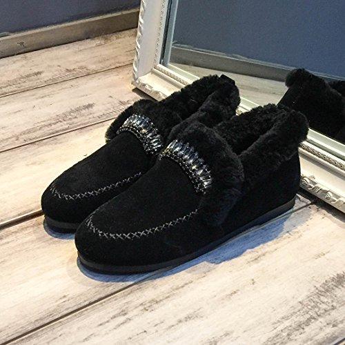 SHOESHAOGE Rembourré Chaussures Hiver Chaussures unie Femme Chaudes Chaussures Plat Pois Couleur Femmes 6rSxXr