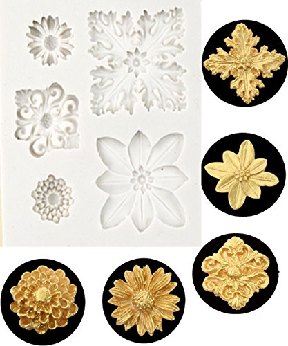 Vintage Chocolate Molds (Vintage Relief Flourish Flower Silicone fondant mold chocolate silicone Mold for Sugarcraft, Cake Border Decoration, candy mold ,Cupcake Topper, Polymer Clay, Crafting Projects)