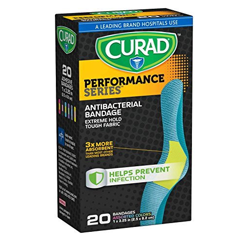 Curad Performance Series Antibacterial Adhesive Bandages, 1 X 3.25 Inch, 60 Count(Pack Of 3) by Curad