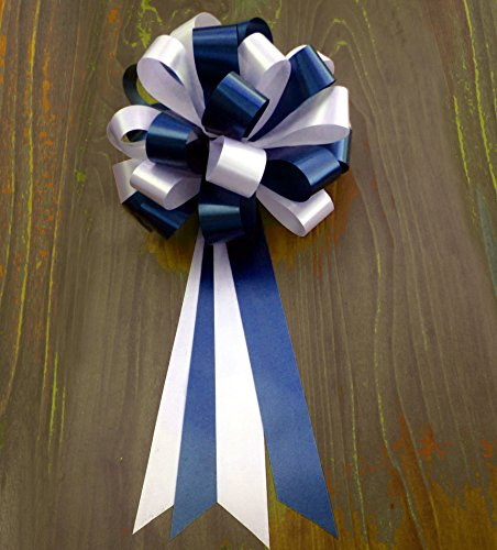 White Wedding Pew Bows - Navy Blue and White Wedding Pew Pull Bows - 8