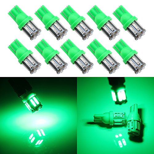 (Grandview 350 Lumens Green T10 194 168 921 W5W 7014 10-SMD LED Interior Lights Bulb Car Replacement Lights Truck License Plate Front Rear Sidemarker Light Dome Map LED Bulbs 12V DC 10-Pack)
