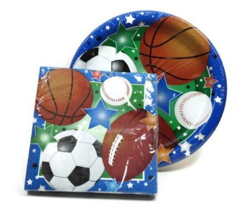 Sports Themed Party Supply Pack - 36 Plates and 40 Napkins - Baseball, Football, Soccer, Basketball