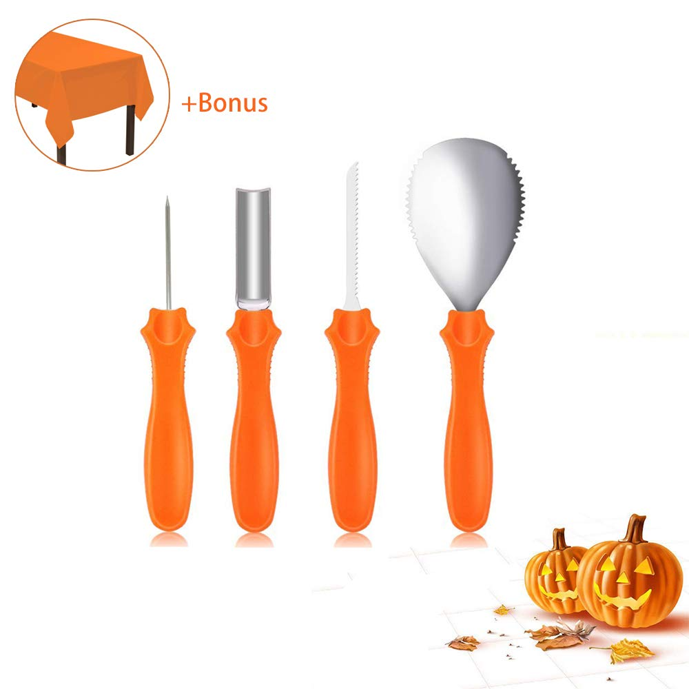 Halloween Pumpkin Carving Kit, Professional Stainless Steel Pumpkin Carving Tools Set for Easily Carve Sculpt Jack-O-Lanterns with Bonus Plastic Tablecloth (5pcs Set, Reusable, Orange)
