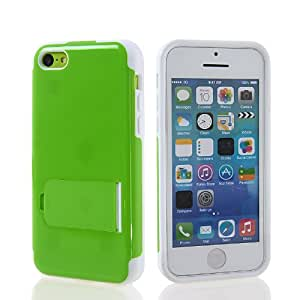 KCASE Flexible Gel TPU Soft Silicone Back Stand Case Cover For Apple iPhone 5C White Green