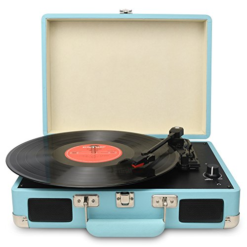 DIGITNOW Vintage Turntable,3 Speed Vinyl Record Player-Suitcase/Briefcase Style with Built-in Stereo Speakers, Supports USB/RCA Output/Headphone Jack / MP3 / Mobile Phones Music Playback (Blue)