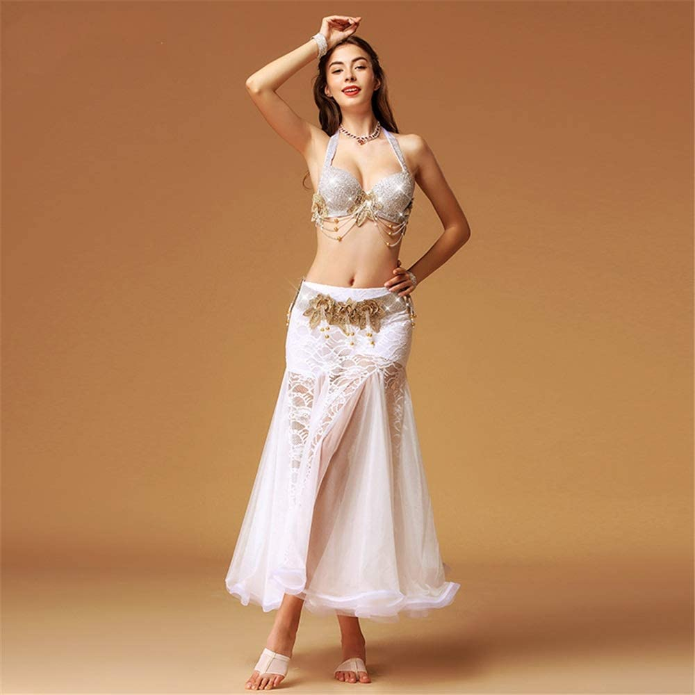 社交ダンスドレス ベリーダンススカートベリーダンスコスチューム、3サイズ、光沢のある、明るいパフォーマンススーツ3色 (色 : 白, サイズ : M) 白 Medium