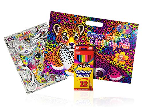 - Lisa Frank Color Me Adult Coloring Book & Activity Pad Set with Colored Pencils [3 Piece Bundle]