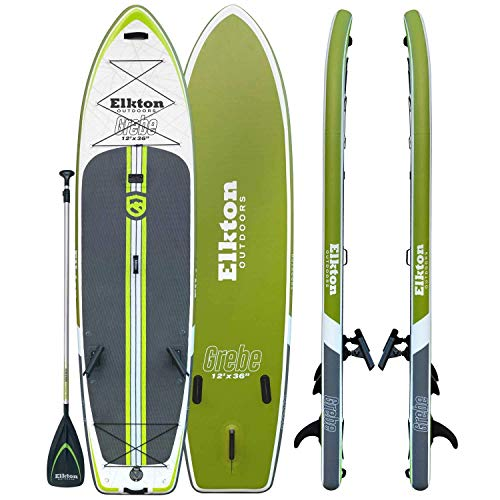 Elkton Outdoors Grebe 12 Foot Inflatable Fishing Paddle Board with Non-Slip Deck, Includes 2 Fishing Rod Holders, Accessories Mounts, Carry Bag, Aluminum Paddle, High Pressure Pump, Ankle Leash