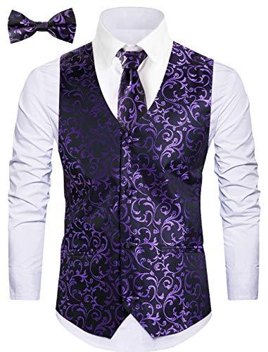 WANNEW Mens Vest Suit Vests Tuxedo Vest Vest for Men(Purple, L)