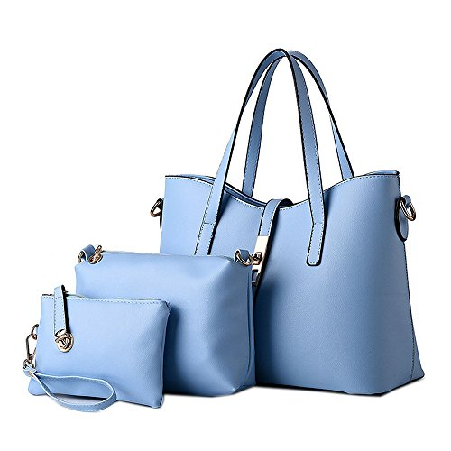 Tote 3 Shoulder in DELEY Shopper Ladies Handbag Light 1 Blue Fashion Office Women Bag Briefcase xIfOf7wqE