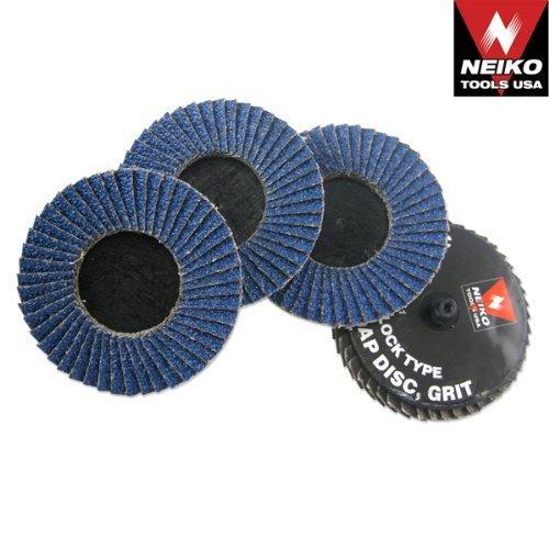 Neiko Roloc Type 3-Inch Flap Disc, Zirconia, 80 Grit, 10 Pieces