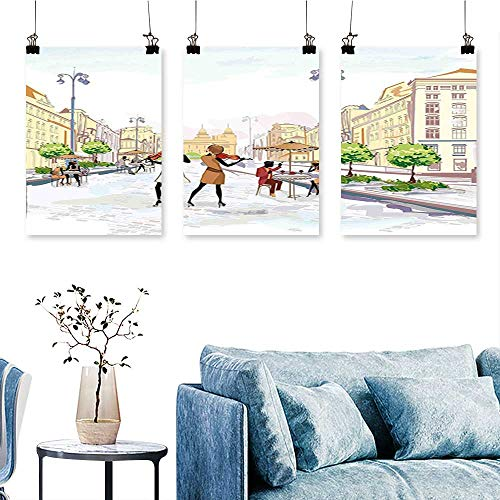 - SCOCICI1588 3 Panel Canvas Wall Art Town with Street Musician Women Playing Violin Streets European Groovy Graphic Print On Canvas No Frame 12 INCH X 16 INCH X 3PCS