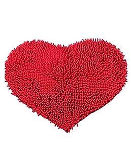 F and Z Alfombrilla de baño cómoda y Suave en Forma de corazón de F y Z; Alfombra para Puerta, Alfombra, Red 40 * 60cm, Talla única