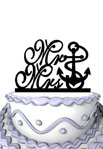 Meijiafei Anchor Mr & Mrs Cake Topper, Nautical Beach Wedding Cake -