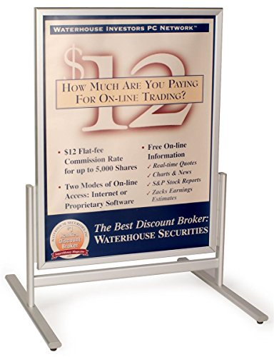 Displays2go SFAM3040 30 x 40 Inches Pavement Sign for Sidewalks with Double Sided Snap Open Frames, Aluminum (Silver)