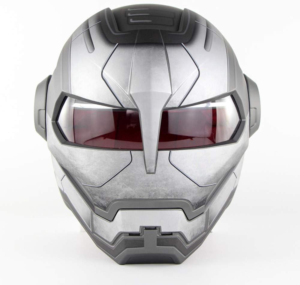 Noir Mat, L Casque de Style r/étro Iron Man Transformers Harley Casque int/égral de Moto Certification Dot