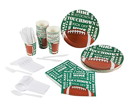 - Football Party Supplies – Serves 24 – Includes Plates, Knives, Spoons, Forks, Cups and Napkins. Perfect Football Birthday Party Pack for Kids Football Sport Themed Parties.