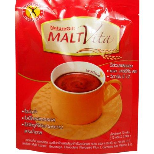 Price comparison product image Malt-vitra Instant Malt Extract Beverage Chocolate Flavor Plus L-carnitine Vitamin B12 Net Wt 75g (15g X 5 Sachets) Naturegife Brand X 4 Bags